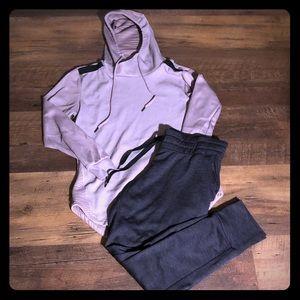 Double hoodie + track pants